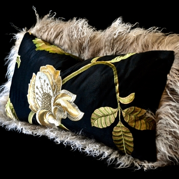 18. Flax Tibet Magnolia Black Bronze Cushion 24W/12H