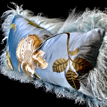 40. Ice Tibet Cushion Sky Blue Silk Shantung Magnolia Bronze 24W/12H