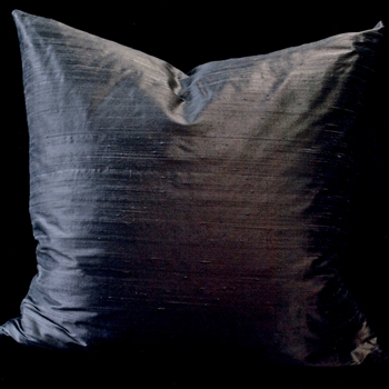 27. Pewter Gunmetal Dupioni Silk Cushion Euro 26SQ