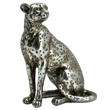 Figure - Leopard Silver Sitting Looking Right 9IN