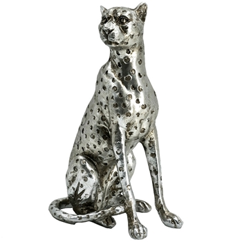 Figure - Leopard Silver Sitting Looking Left 8IN