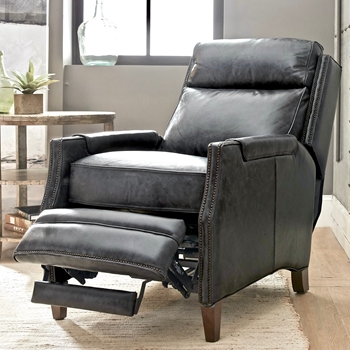 Armchair Recliner - Regale Leather Grey Top Grain 27W/40-67 Reclined /42H Power Recliner  with Power headrest.