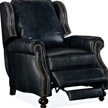 Armchair Recliner - Drake Leather Black Top Grain Leather 34W/39-68L/42H