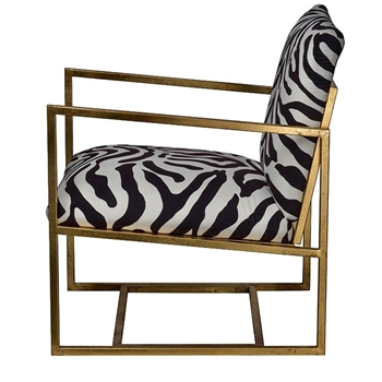 Armchair - Zebra Black/White Gold 24W/27D/25H