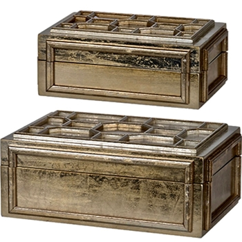 Box - Chinoise Gold Set of 2 16W/10D/7H & 13W/8D/6H