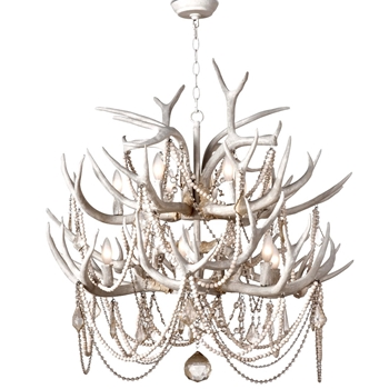 Chandelier - Cheyanne Antler White 33W/40H 12Light