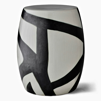 Accent Table - Garden Stool Figurative 14W/18H Ceramic Black/White