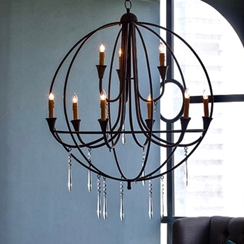 Chandelier - Ballard Globe 32IN Black 9Light