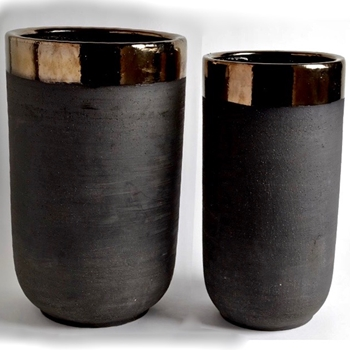 Planter - Banded Bronze Black Porcelain SMALL 12W/23H