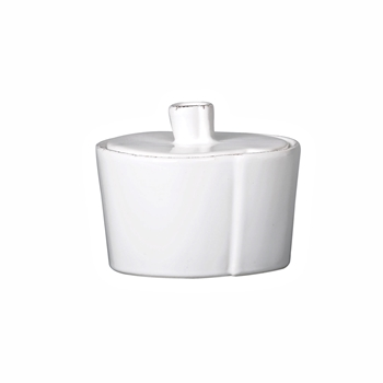 Vietri - Lastra White Bowl Lidded Condiment Pot 4in