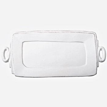 Vietri - Lastra White Platter Rectangle Handled 16x9in