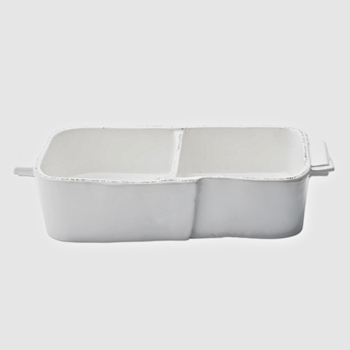 Vietri - Lastra White Serving Dish 2Part 10x5x3in