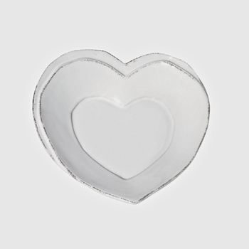 Vietri - Lastra White Plate Heart 6.5in