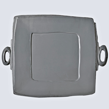 Vietri - Lastra Grey Platter Handled 13in Square