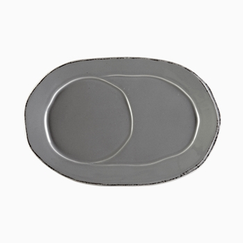 Vietri - Lastra Grey Mug Jumbo Oval Tray 10in