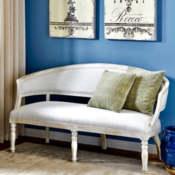 Settee - Bella White Washed 67W/27D/35H