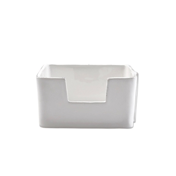 Vietri - Lastra White Napkin Box Cocktail 6x6x3
