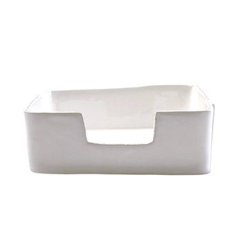 Vietri - Lastra White Napkin Box Dinner 9.5x9.5x3