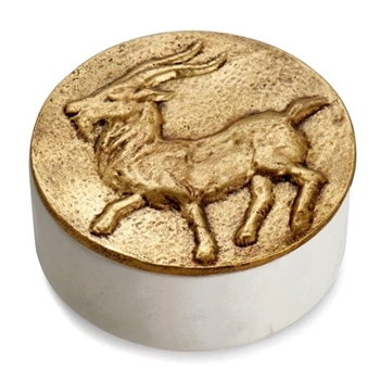 Aram Zodiac #01 - Dec 22 - Jan 20 - CAPRICORN - Goldtone & Marble Box 4.5X1.75in