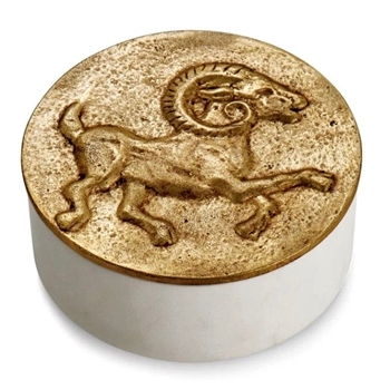 Aram Zodiac #04 - Mar 21 - Apr 20 - ARIES - Goldtone & Marble Box 4.5X1.75in