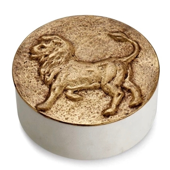 Aram Zodiac #08 - Jul 23 - Aug 23 - LEO - Goldtone & Marble Box 4.5X1.75in