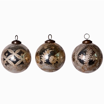 01. Ornament - Mercury Glass Globe Vintage Patina 4in