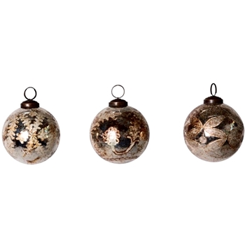01. Ornament - Mercury Glass Globe Vintage Patina 3in