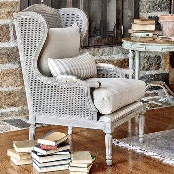 Armchair Wing - Cane & Oak Grey Wash 31W/35D/47H