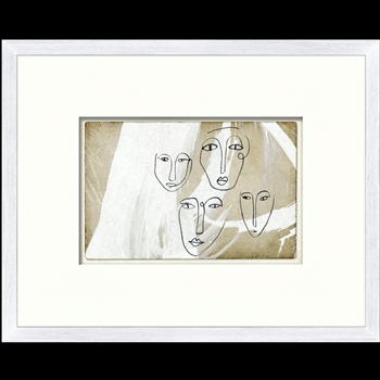 15W/12H Framed Art - One Line Faces