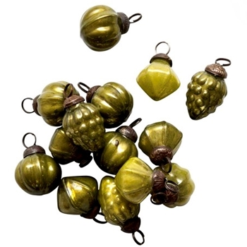 01. Kugel Mini 1in Olive Green Assorted Sold Individually