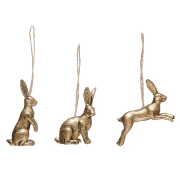 01. Ornament - Gold Rabbit 3in Assorted sold Individually