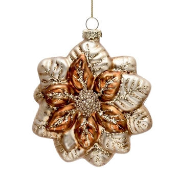 01. Ornament - Glass Poinsettia Amber Pearl 5in