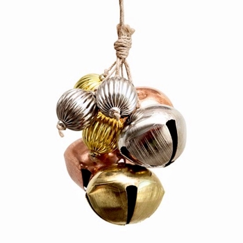 01. Ornament - Jingle Bell Cluster 4in Gold/Silver/Rose