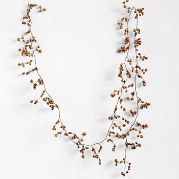 68. Garland - Gilded Copper Gold Micro Jingle Bells 72in