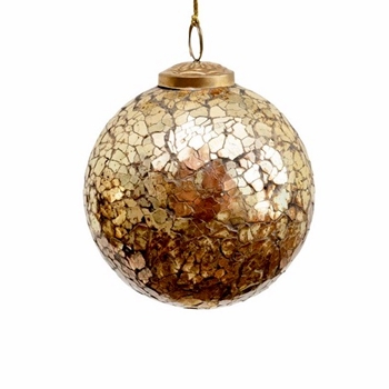 01. Ornament - Glass Globe Crackle Amber/Gold Mosaic 4in