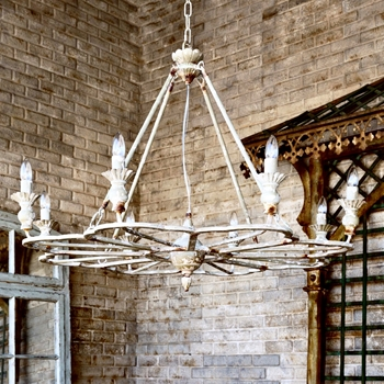 Chandelier _ French Follie Antique Bisque 40W/29H