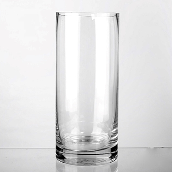 Vase - Cylinder Clear Heavy Base 6W/14H