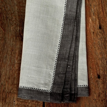 Napkin Linen Majesty Grey/ Charcoal Hem 21SQ