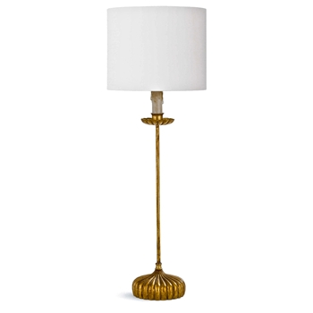 Lamp Table - Clove Gilded White Drum Shade 10W/28H