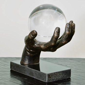 Figure  Future Hand W 6in Crystal Sphere 9W/9H/7D