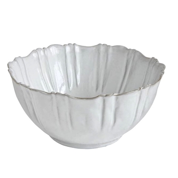 Fluted Antique White  Bowl 8W/4H