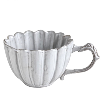 Fluted Antique White Tea Cup 10OZ 3IN
