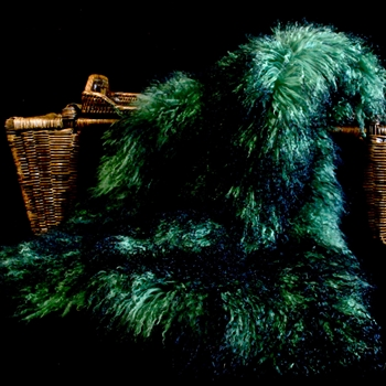 51. Emerald Green Tibet Mongolian Fur Throw 47W/23D