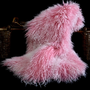 84. Petal Pink Tibet Mongolian Fur Throw 47W/23D