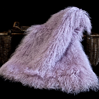 94. Powder Violet Tibet Mongolian Fur Throw 47W/23D