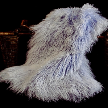 94. Lilac Tibet Mongolian Fur Throw 47W/23D