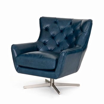 Armchair - Raymond Swivel Teal Top Grain Leather 32W/37D/35H