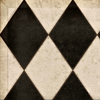 Floorcloth - Black & White Diamonds Edward - Detail 20SQ