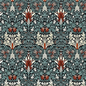 Floorcloth - Snakeshead Thistle & Russet - Detail 20SQ - Morris & Co