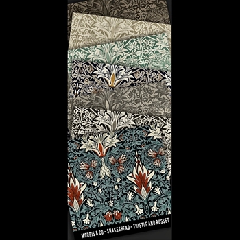 Floorcloth - Snakehead - Swatch Set of 7 - 5IN SQ - Morris & Co